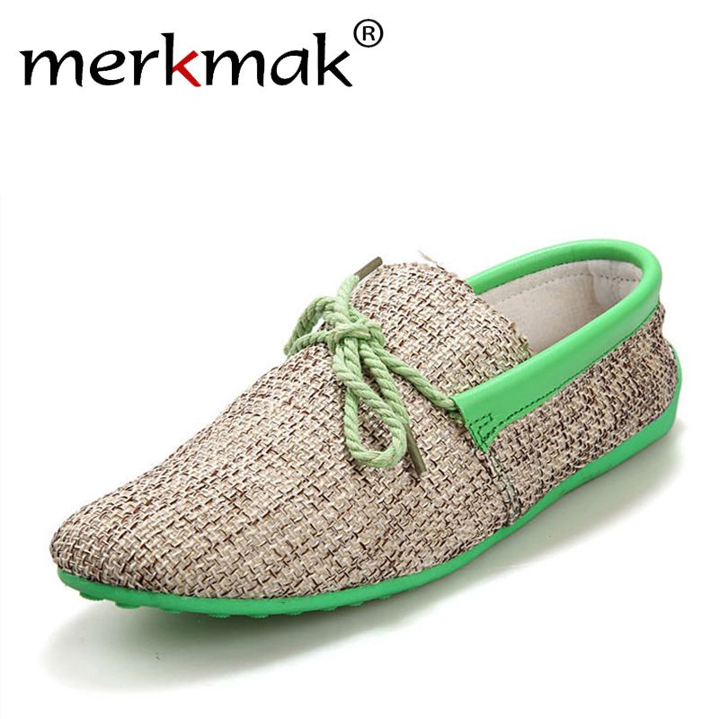 Dropshipping Men Shoes Summer Breathable Fashion Weaving Casual Shoes Soft Lace-up Comfort Men's Loafers Driving Mocassins