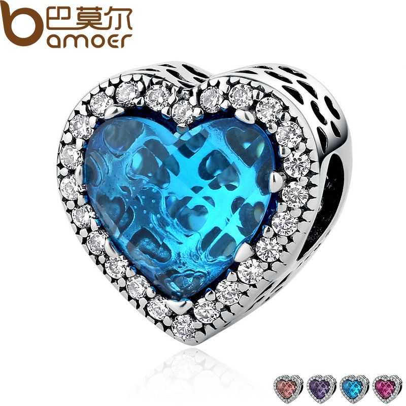 BAMOER 925 Sterling Silver Jewelry Radiant Hearts Beads Charms Fit Bracelets Women 4 Color Stone Mother's Day Gift PSC054