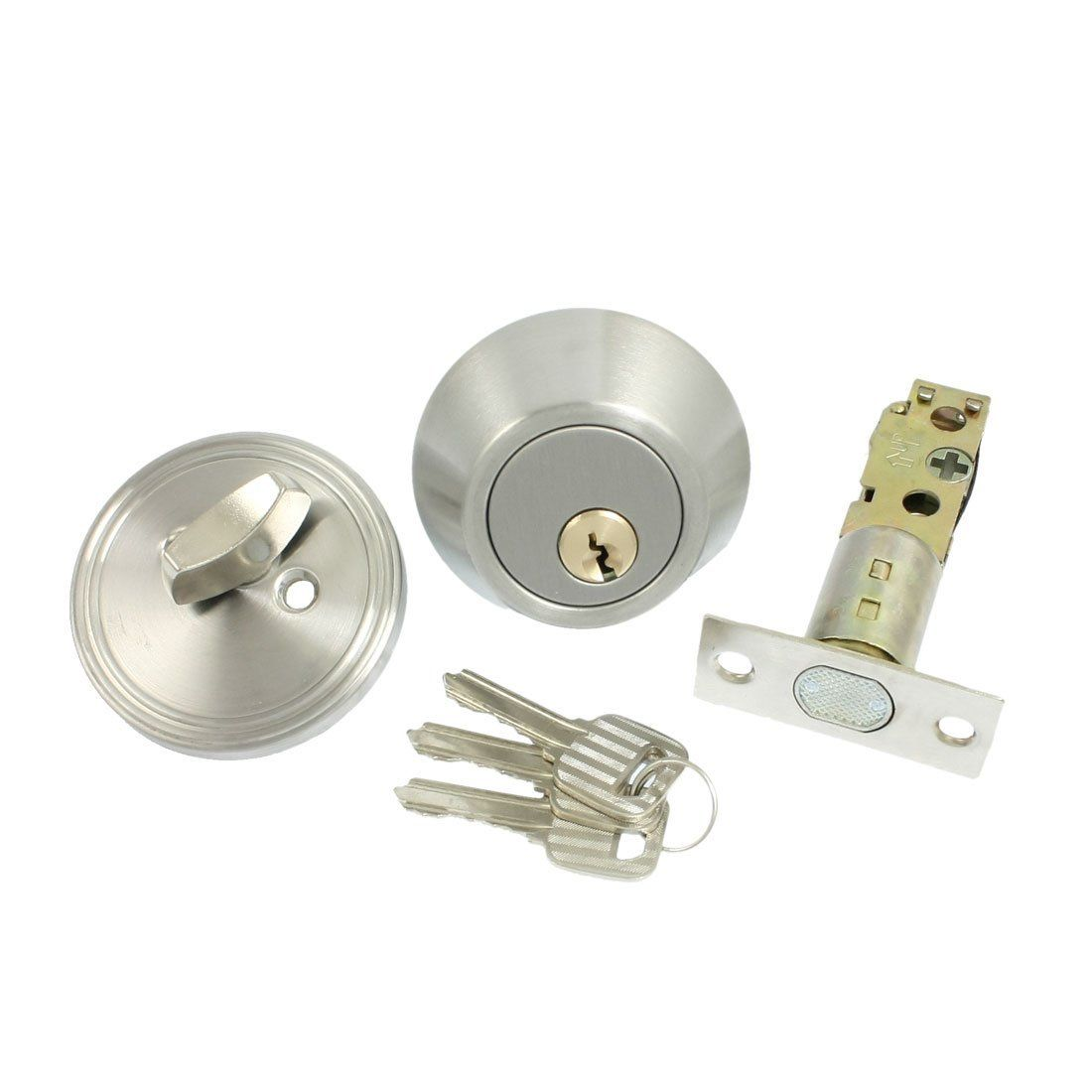 THGS Home Door Locking Security Single Cylinder Deadbolt Lock Silver Tone