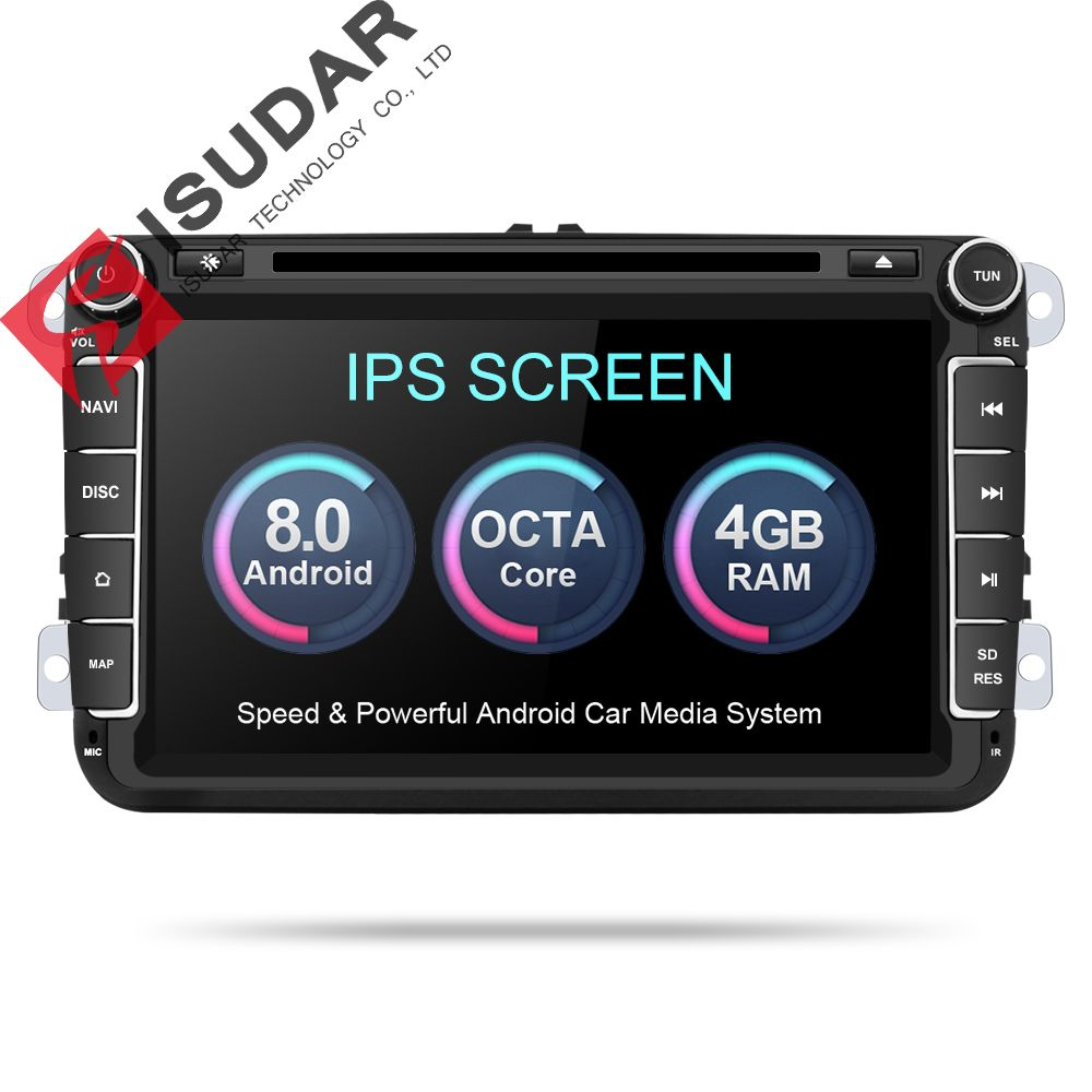 Isudar Car Multimedia player Android 8.0 GPS 2 Din Car Radio Audio Auto For VW/Volkswagen/POLO/PASSAT/Golf 8 Cores FM Radio IPS