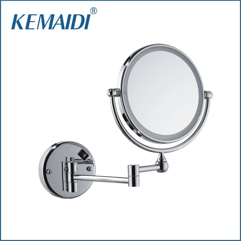 KEMAIDI Chrome Makeup Mirrors LED Wall Mount Extending Folding Double Side LED Light Mirror 3x Magnification Bath&Toilet Mirror