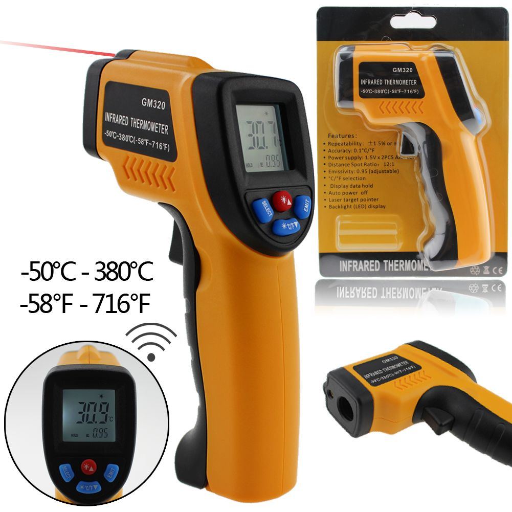Professional Digital LCD Infrared Thermometer Non-contact IR Temperature Measurement Gun Meter for Hot water pipes/ Engine parts