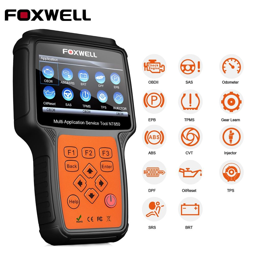 FOXWELL NT650 OBD2 Car Diagnosis Automotive Scanner Engine ABS SRS EPB Oil Service Reset Injector Coding ODB2 Diagnostic Tool