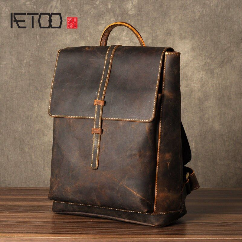 AETOO The first layer of Leather Shoulder Bag Mens Leather Backpack retro fashion leisure bag simple Crazy Horse