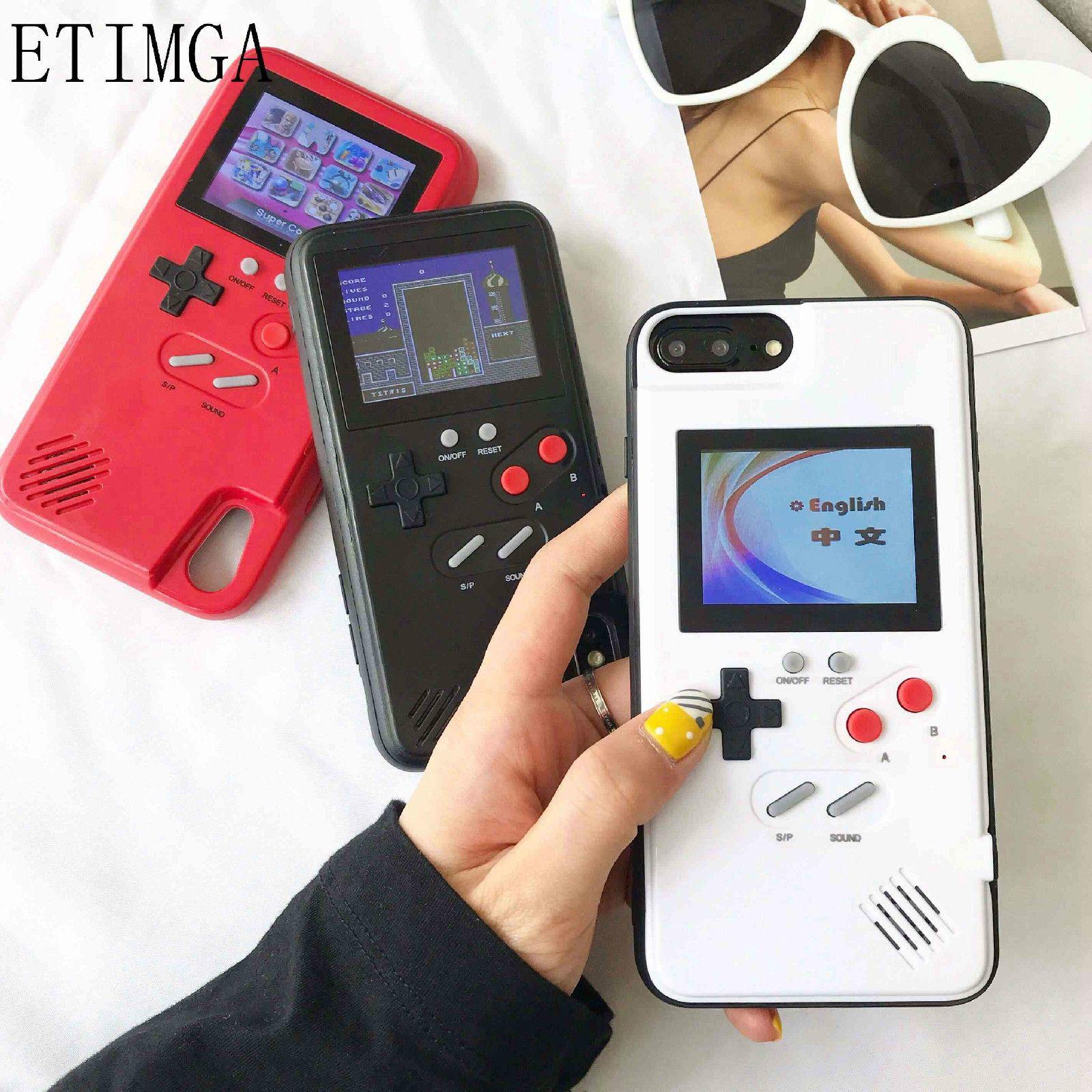 Écran couleur Xs Max coque de téléphone GameBoy pour iphone Xs Max Xr X rétro Tetris jeu couverture arrière pour iphone 8 7 6 6s plus Coques