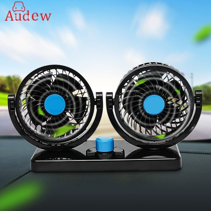 Mini Electric Car Fan Low Noise Summer Car Air Conditioner 360 Degree Rotating 2 Gears Adjustable Car Fan Air Cooling Fan 12V