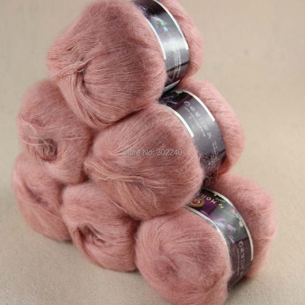 Sale Lot of 6 balls x 50g LACE MOHAIR Cashmere silk hand Yarn Knitting salmom pink 06