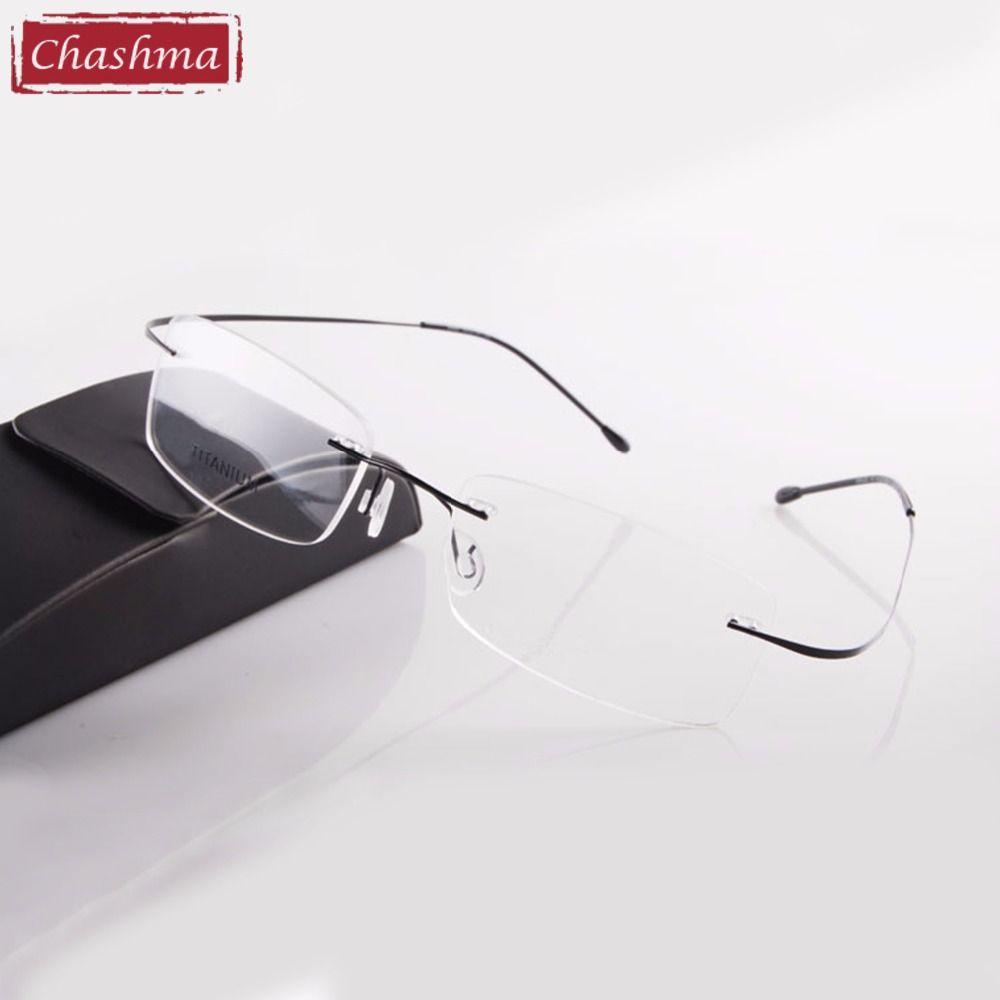 Chashma vente chaude Chashma marque titane sans monture Ultra léger lunettes cadre mode lecture lunettes homme et femmes avec étui