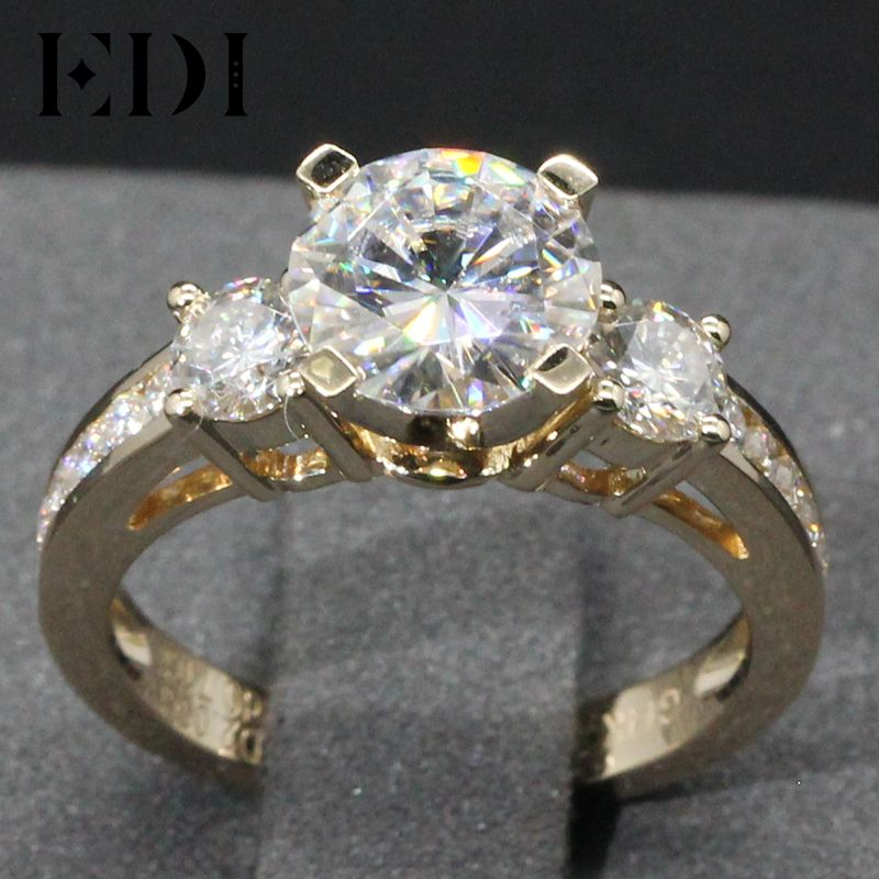 EDI Genuine Lab Grown Diamond 2CT Brilliant Moissanites 14K Yellow Gold Wedding Ring Three-Stone Test Positive Engagement Ring