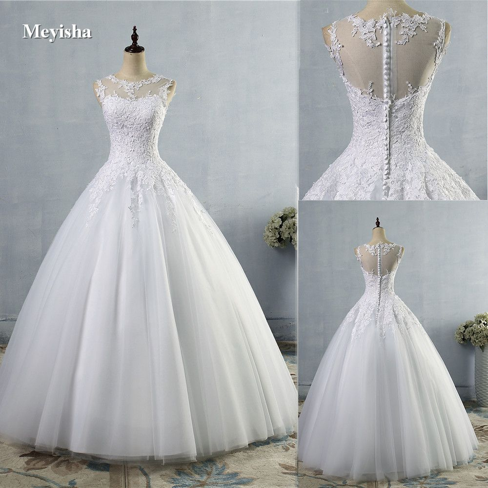 ZJ9036 2016 2017 lace White Ivory A-Line <font><b>Wedding</b></font> Dresses for bride Dress gown Vintage plus size Customer made size 2-28W