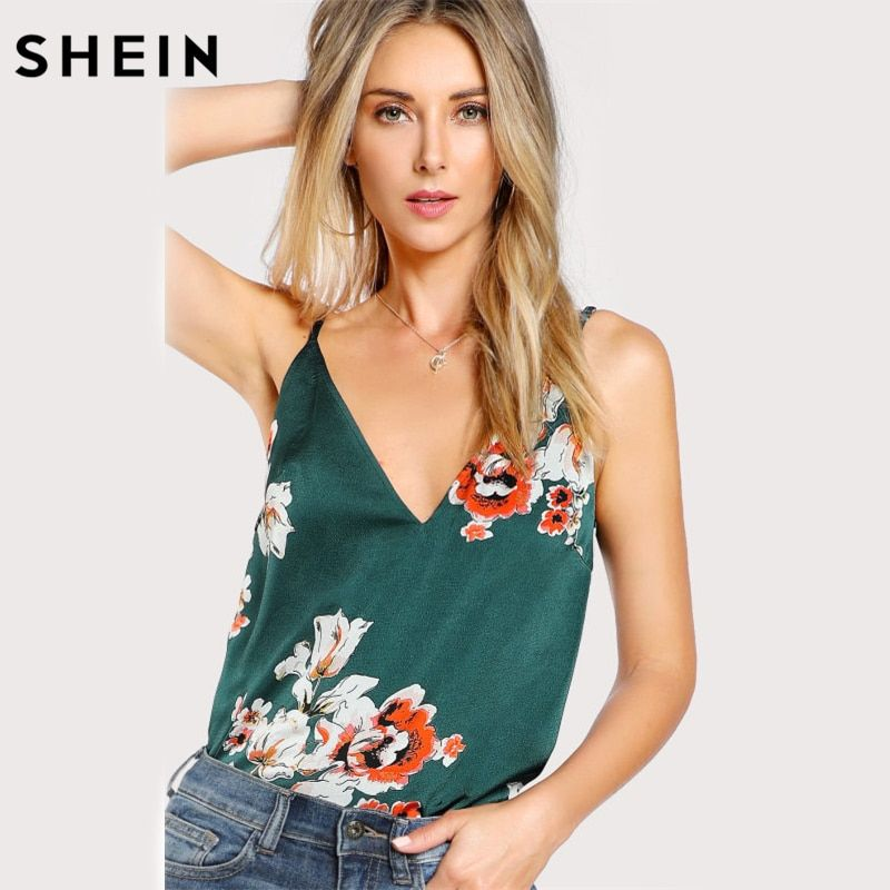 SHEIN Sexy Tops for Women Multicolor Flower Print Double V <font><b>Neck</b></font> Cami Top Summer Spaghetti Strap Floral Print Camisole