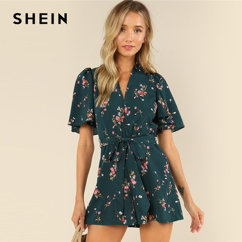 SHEIN Green Vacation Bohemian Beach Floral Print Plunge V Neck Flounce Sleeve <font><b>Belted</b></font> Ditsy Romper Summer Women Casual Jumpsuit