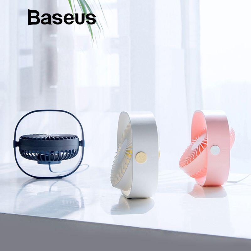 Baseus Tragbare Mini USB Fan Für Zu Hause Student Desktop Büro Fans 3-Speed Stumm 360 Einstellung Handheld Electri Luft lüfter