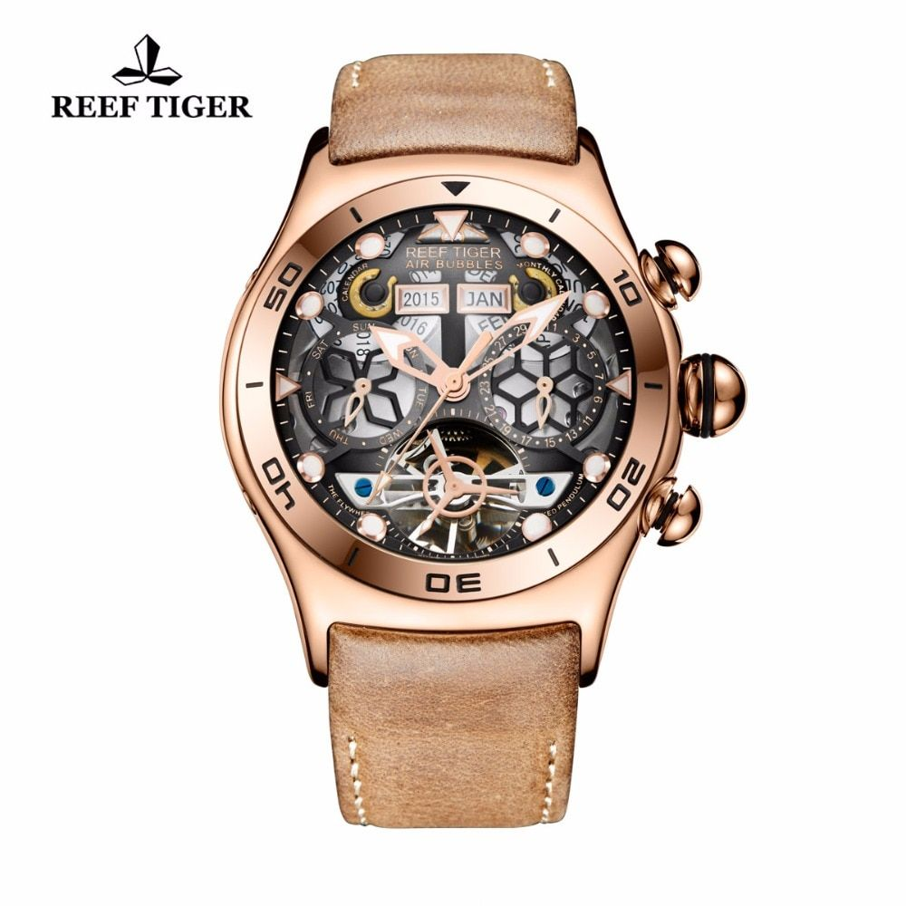 Reef Tiger/RT Sport Watch For Men Skeleton Luminous Watch Year Month Date Day Rose Gold Automatic Watches RGA703