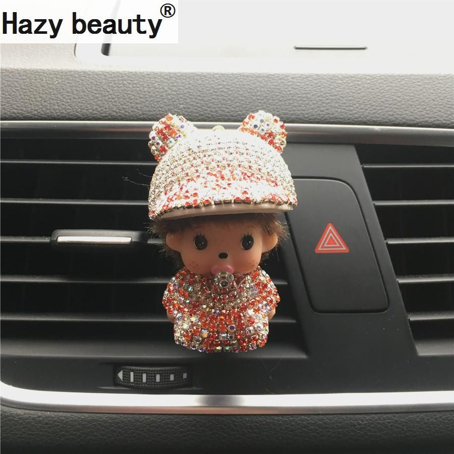 Lovely diamond peaked cap vehicle air conditioning outlet Kiki perfume clip lady car accessories Car Air Freshener