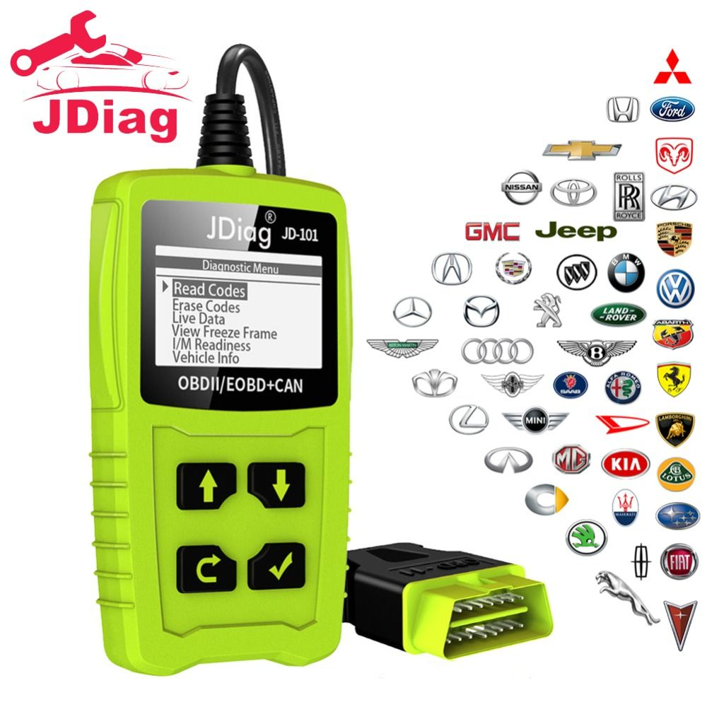 JDiag Universal Car Diagnostic Tool Code Readers Auto Scanner Check Engine Light Diagnostic Tool EOBD Scanner with Battery Test