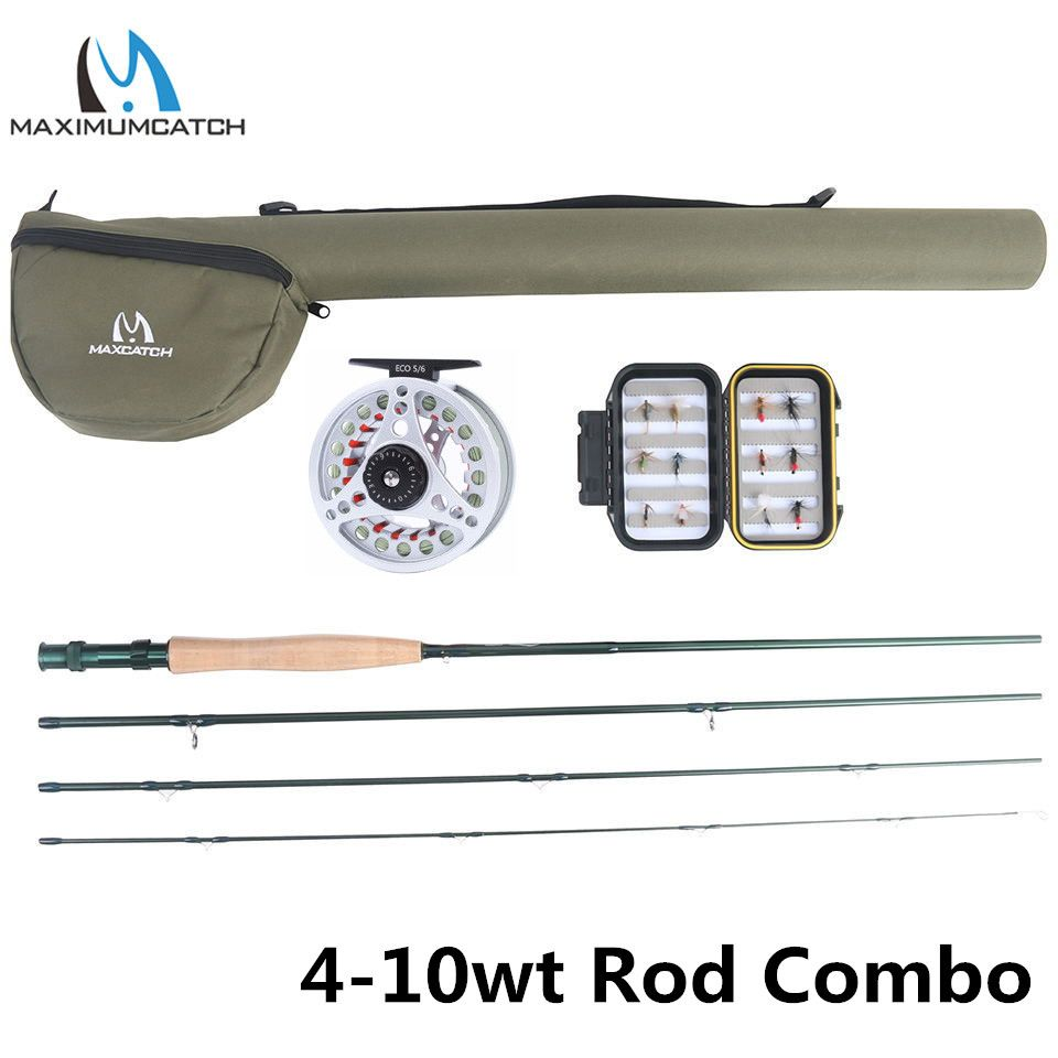Maximumcatch Extreme 8/9/10FT 3-8WT Medium-fast Carbon Fiber Fly Rod with Graphite Reel & Fly Line&Tackle Box Triangle Tube
