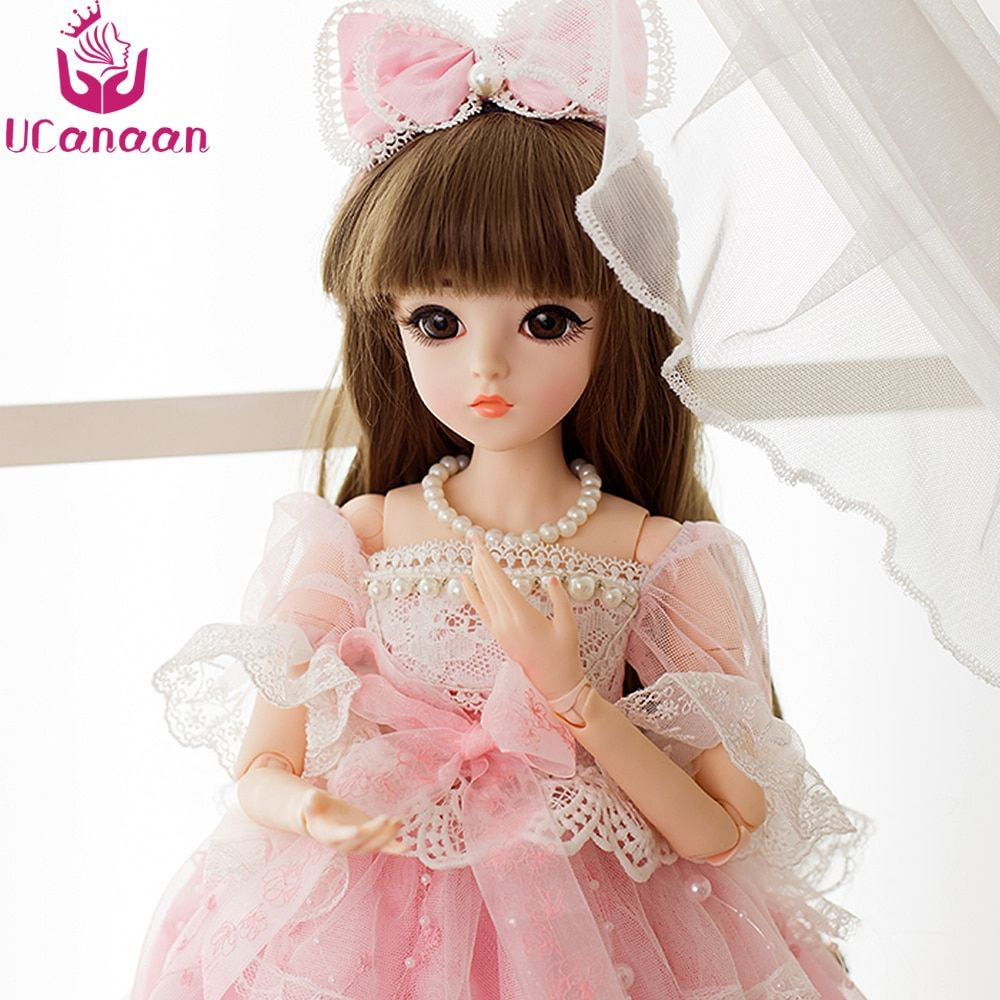 UCanaan 1/3 SD BJD Doll 18 Joints With Shoes Wigs Makeup Pink Party Dress Girls Toys Beautiful Dolls Reborn Girl Best Gifts