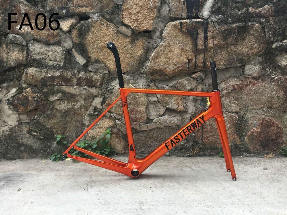 Taiwan made T1100 2018 fasterway O2 verbrannt orange carbon road rahmen: carbon Rahmen + Sattelstütze + Gabel + Klemme + Headset, ems kostenloser versand