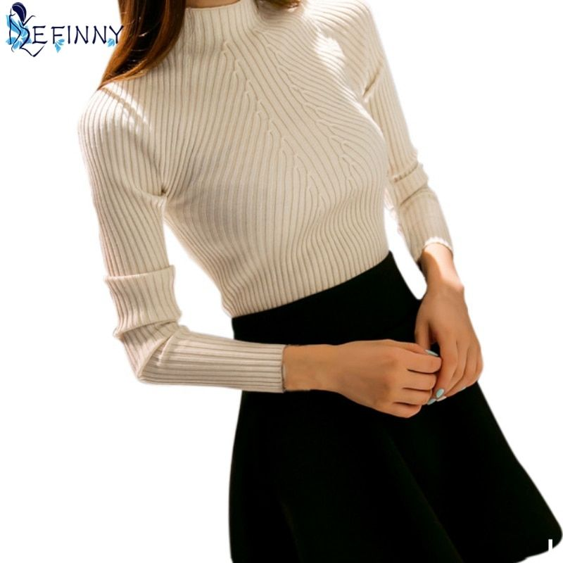 EFINNY Autumn Winter Women Knit Sweater Cardigans High neck Jacket Coat Long Sleeve Pullovers Sueter Mujer Chandail Sweaters Top