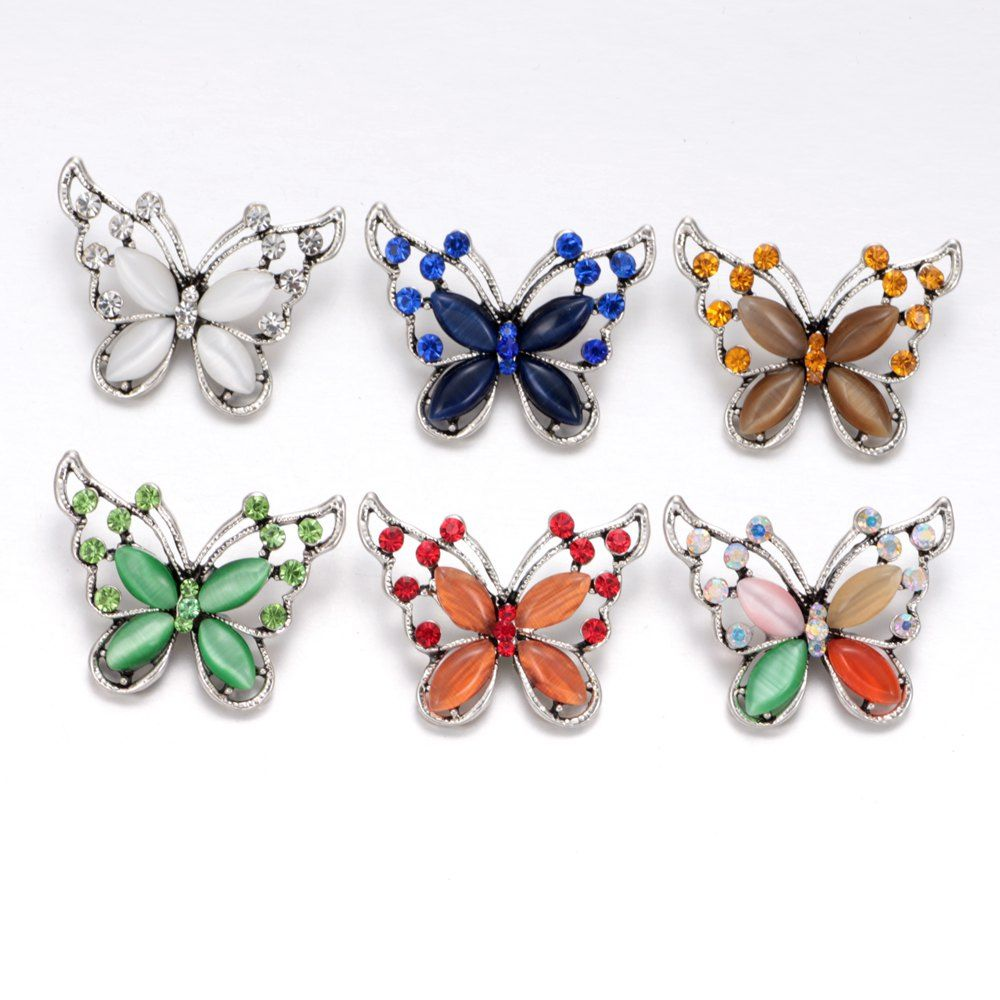 2017 New Arrivals 6pcs/lot Butterfly Pattern Buttons 18mm snap button Jewelry Faceted Snaps Fit Snaps Jewelry KZ0346
