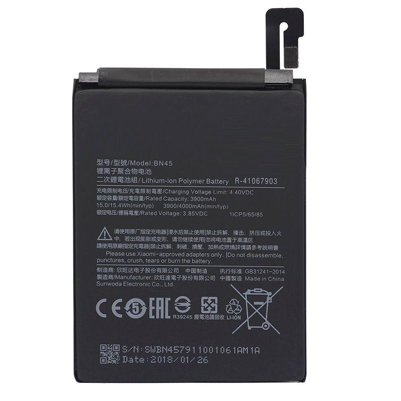 BN45 batterie de téléphone portable pour Xiao mi Note 2 rouge mi Note 5 batterie de remplacement haute capacité 3900 mAh