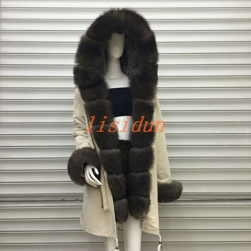 2018 Real fur coat fox parkas winter jacket coat women parka big real raccoon fur collar natural fox fur liner long outerwear
