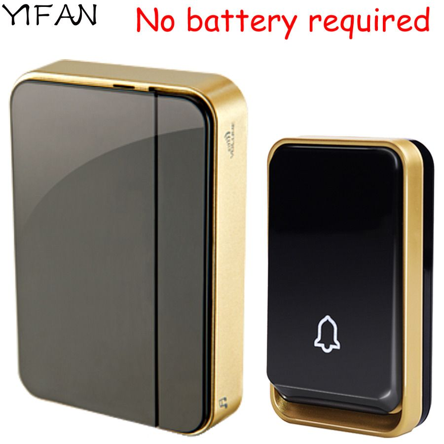 YIFAN New self powered Wireless Doorbell NO battery Waterproof 150M range EU Plug 110-220V smart Door Bell 1 button 1 2 receiver