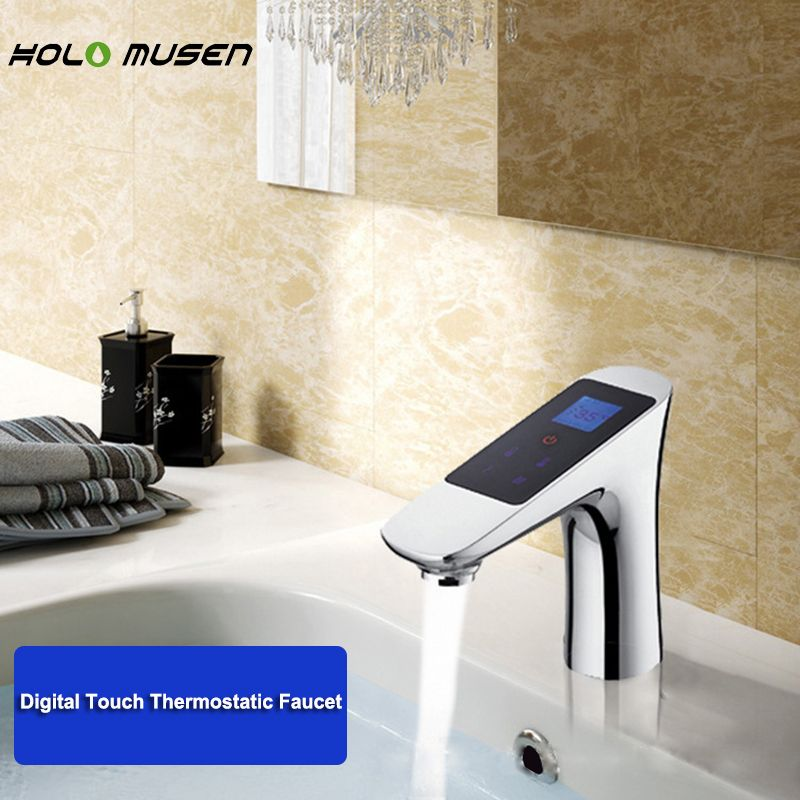 Chrome Thermostat 220 V Digitale Wasserhahn Thermostat Flow Control LCD Touch Screen Smart Digitale Thermostat Wasserhahn