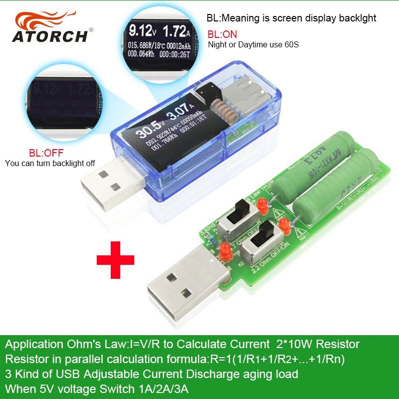 ATORCH USB testeur + charge DC voltmètre numérique amperimetro batterie externe chargeur indicateur voiture tension courant mètre docteur détecteur
