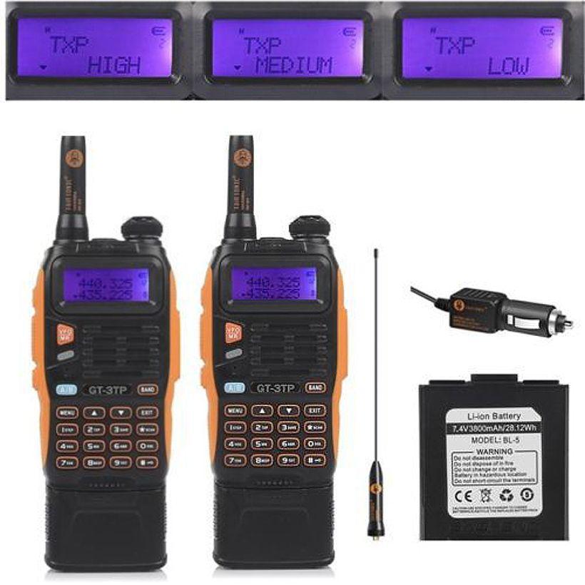 2 pièces Baofeng GT-3TP Mark III 8 W double bande V/UHF double veille jambon bidirectionnel Radio talkie-walkie 3800 mAh batterie émetteur-récepteur