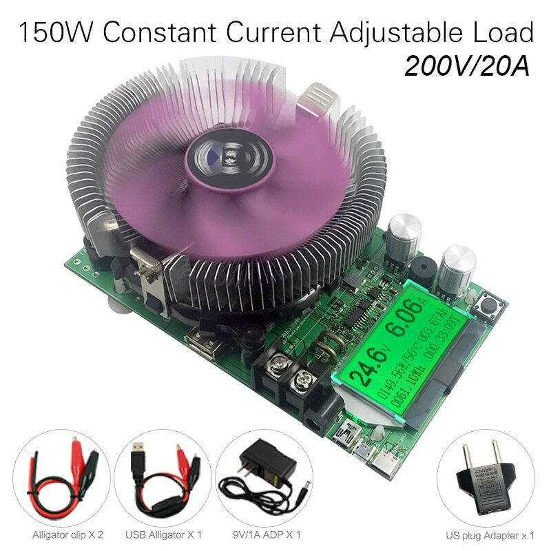 200V 20A 150W adjustable Constant Current Electronic Load Battery Tester 12V24V48V Lead-acid lithium <font><b>Discharge</b></font> Capacity meter