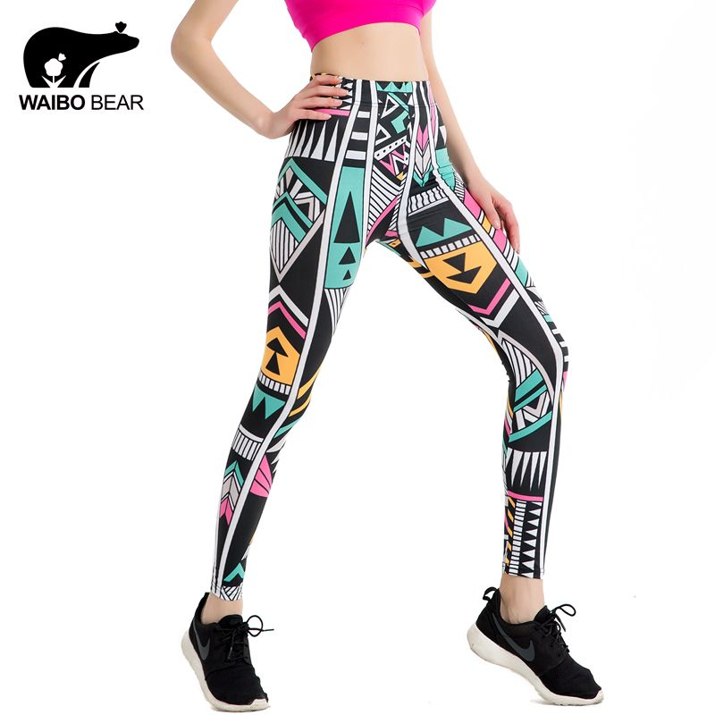 Female 2017 Summer Irregular Print Leggins Quick Dry Sporting Women Work out Legging Casual Compression Fitness Pants WAIBO BEAR