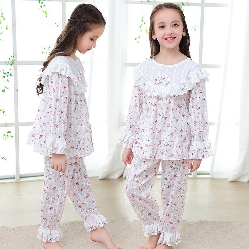 2019 herbst Pyjamas Kinder Pyjama Sets Mädchen Nachtwäsche Baby Pyjamas Lange Hülse Flare Hülse Kinder Hause Kleidung 2Y-14Y