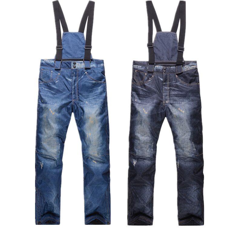 Free shipping full protection denim men waterproof Windbreak Wear ski pants snowboard ski winter promotion size M,L,XL,XXL,XXXL