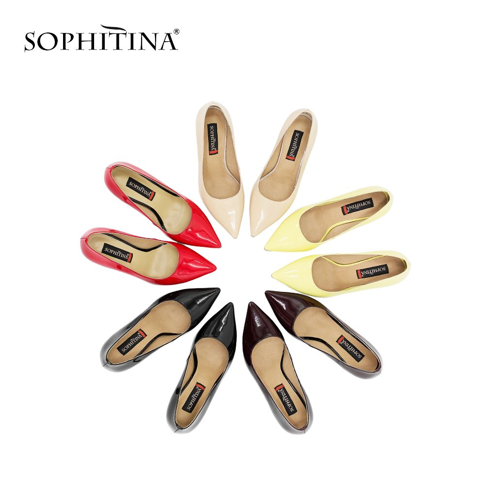SOPHITINA Woman High Heel Pumps Basic Model Sheepskin Leather Thin Heel Sexy Pointed Toe Pumps Party Red Wedding Shoes Women D30