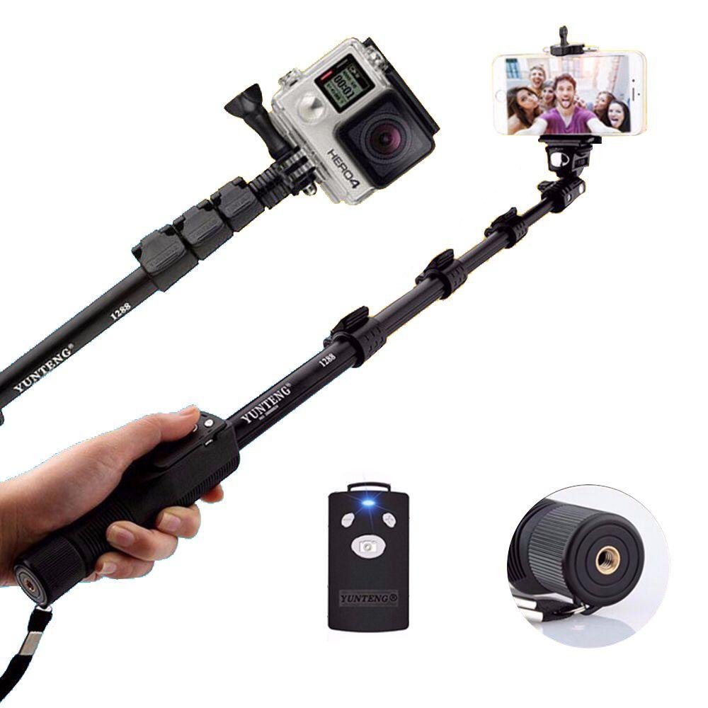 Yunteng 1288 For Gopro Hero5S 5 4S 4 3+SJCAM SJ400 SJ5000 SJ6000 Camera Handheld Bluetooth Phone Selfie Stick Monopod Self Pole