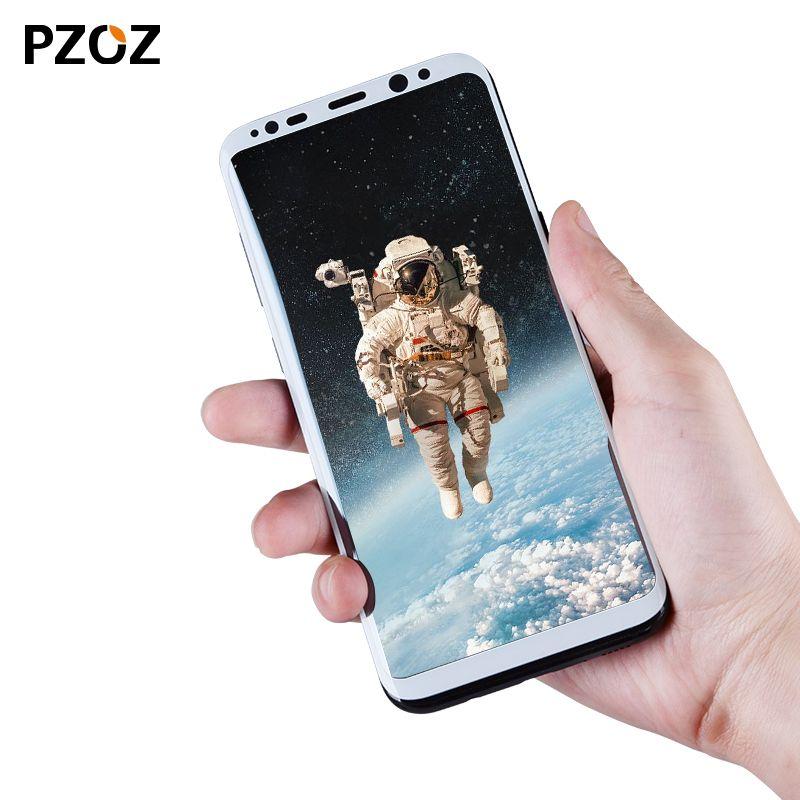 Pzoz pleine couverture protecteur d'écran en verre trempé pour samsung galaxy s8 pour galaxy s 8 3D Bord film 9 h pour samsung s8