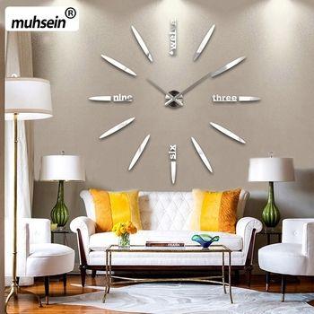 2017 New100% Positive feedback Wall Clock Acrylic Metal Mirror Super Big Personalized Digital Wall Watches Clocks  Free shipping