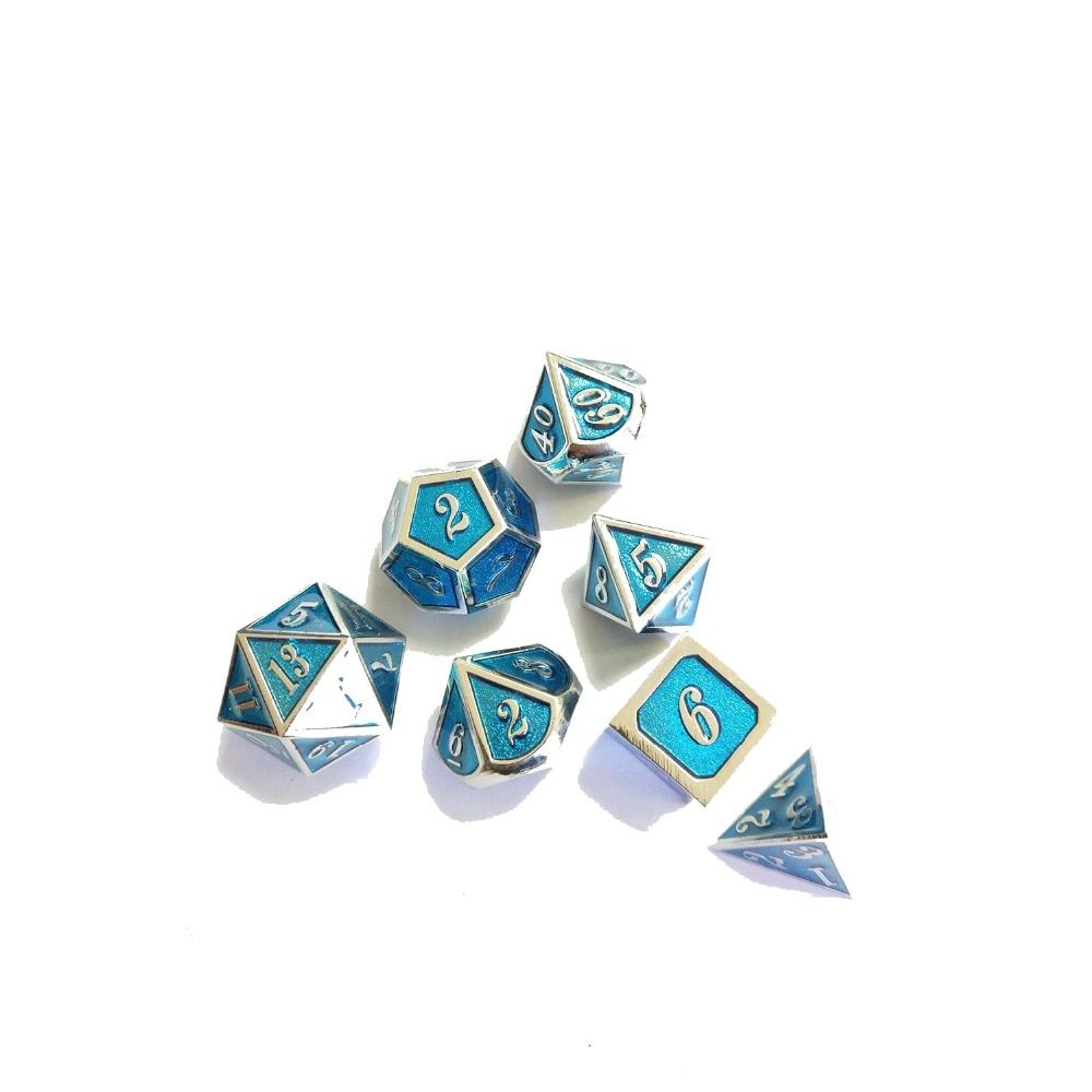 factory Outlet New font Dungeons & Dragons 7pcs/set Creative RPG Dice D&D Metal Dice Chromium plating transparent blue ename