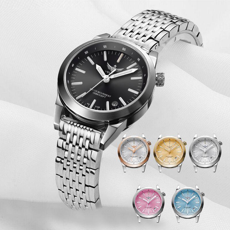 New Arrive Steel Strap YELANG V1010 Upgrade Version T100 Tritium Luminous Waterproof Lady Fashion Business Quartz Wrist watch