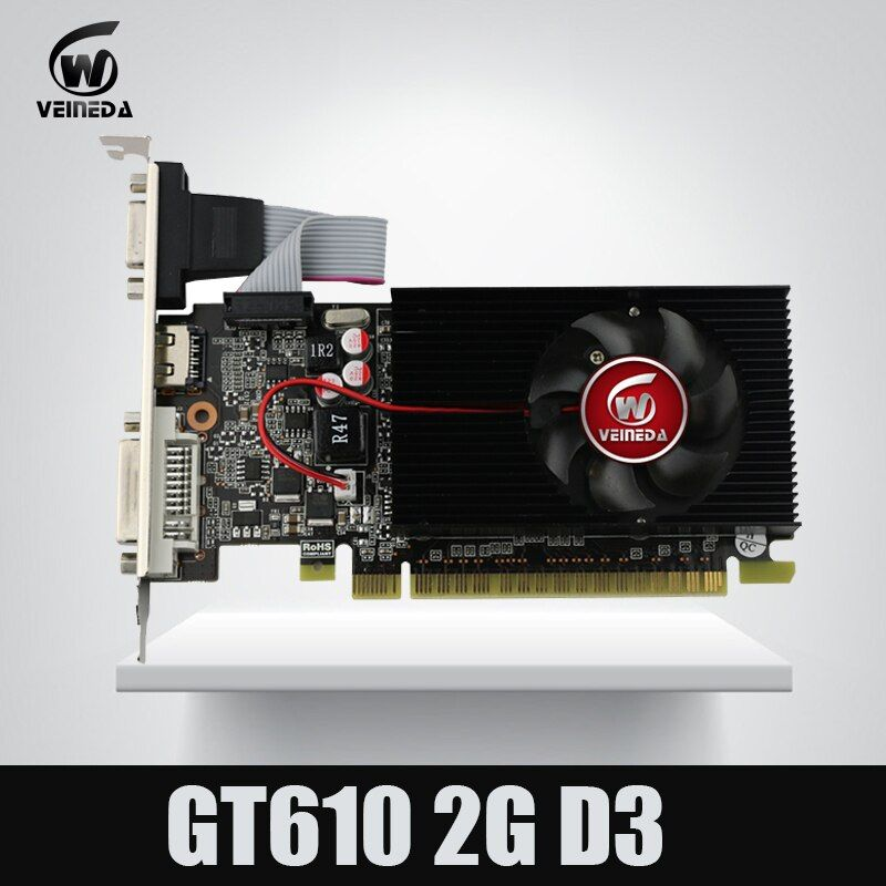 Veineda display vga cards GT610 2GB DDR3 810/1200MHz for nVIDIA Geforce Game PC