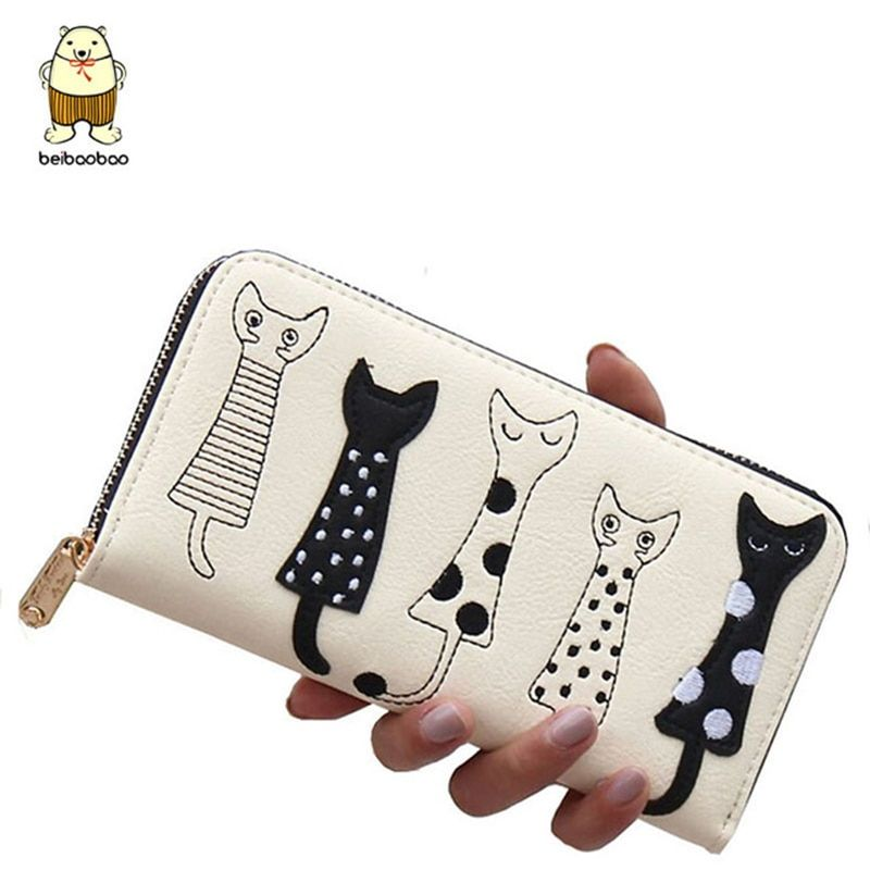 Beibaobao New Women Wallets fashion style Dollar price Leather Wallet carton cat Day Clutch Purse card holder long female purse