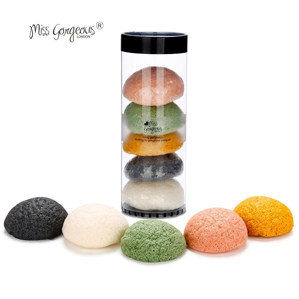 Miss Gorgeous 5pcs/set Konjac Makeup Sponges Soft Natural Konjac Fiber Face Wash Cosmetic Sponges Gentle Exfoliation Makeup Tool