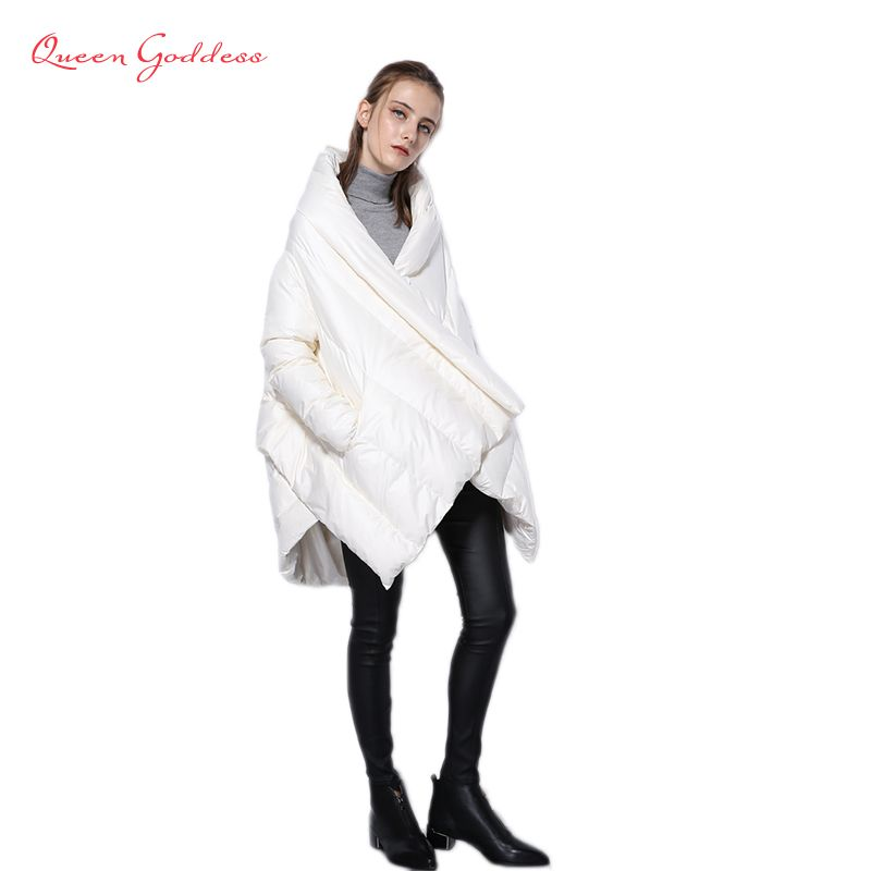2017 neue Mode frauen Unten Jacke Parka Mäntel Europäischen Designer Asymmetrische Länge Winter Mantel Weibliche