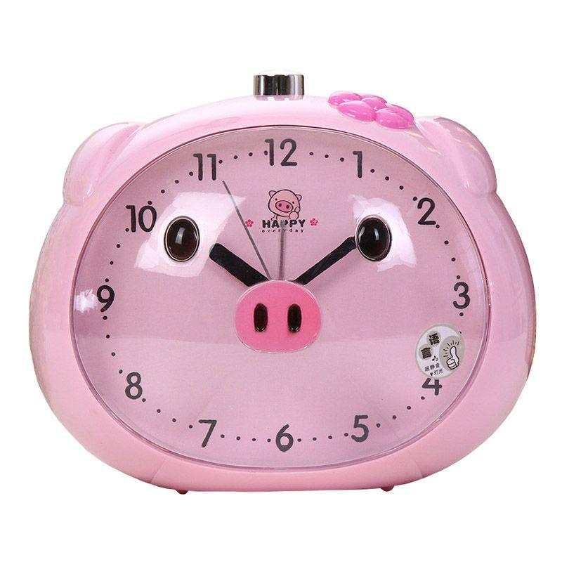 Novelty <font><b>Speaker</b></font> Pig Alarm Clock With LED Light Table Clocks Night Light Reloj Clock For Children Sleeping Cartoon Alarm Clocks