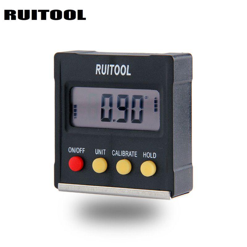 RUITOOL 360 Degree Mini Digital Protractor Inclinometer Electronic Level Box Magnetic Base Measuring Tools