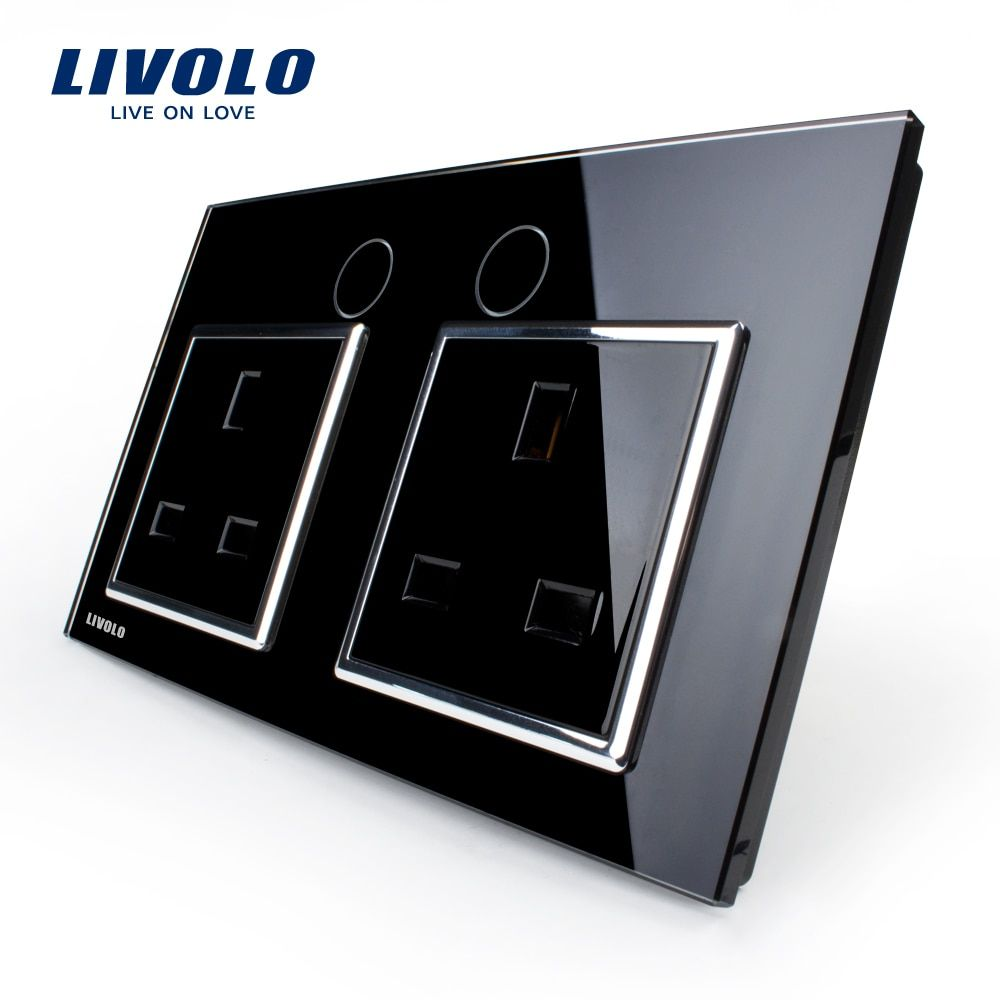Livolo UK Standard Wall Power Socket, VL-C7C2UK-12, Wall Switch, Black Crystal Glass Panel, Manufacturer of 13A Wall Outlet