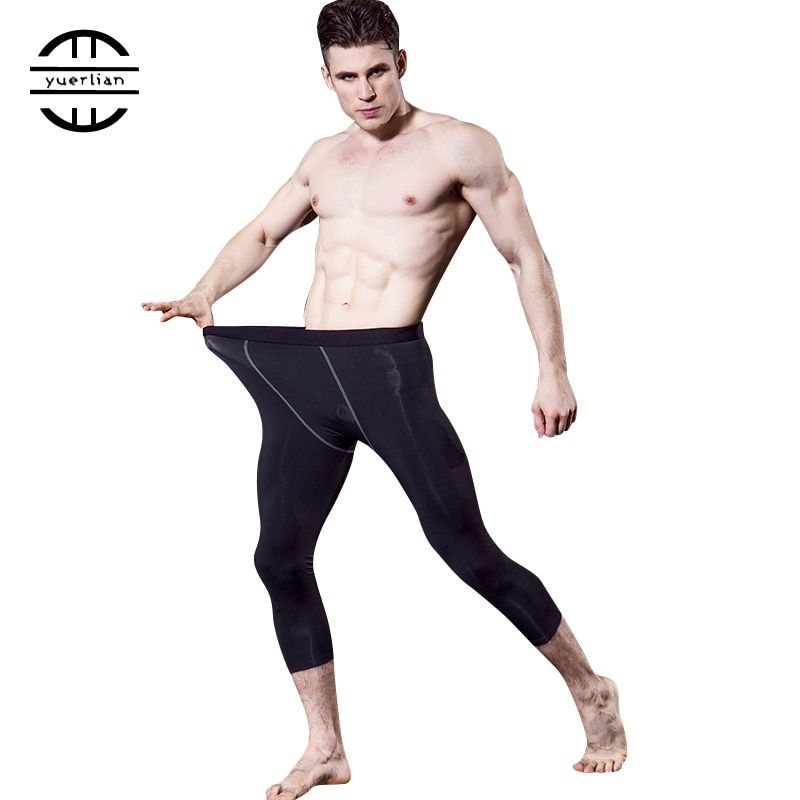 Yuerlian Polyester Gym 3/4 Leggings Men Size L Compression Fitness Tight Pants Sportswear Quick Dry Black Sport Trousers Running