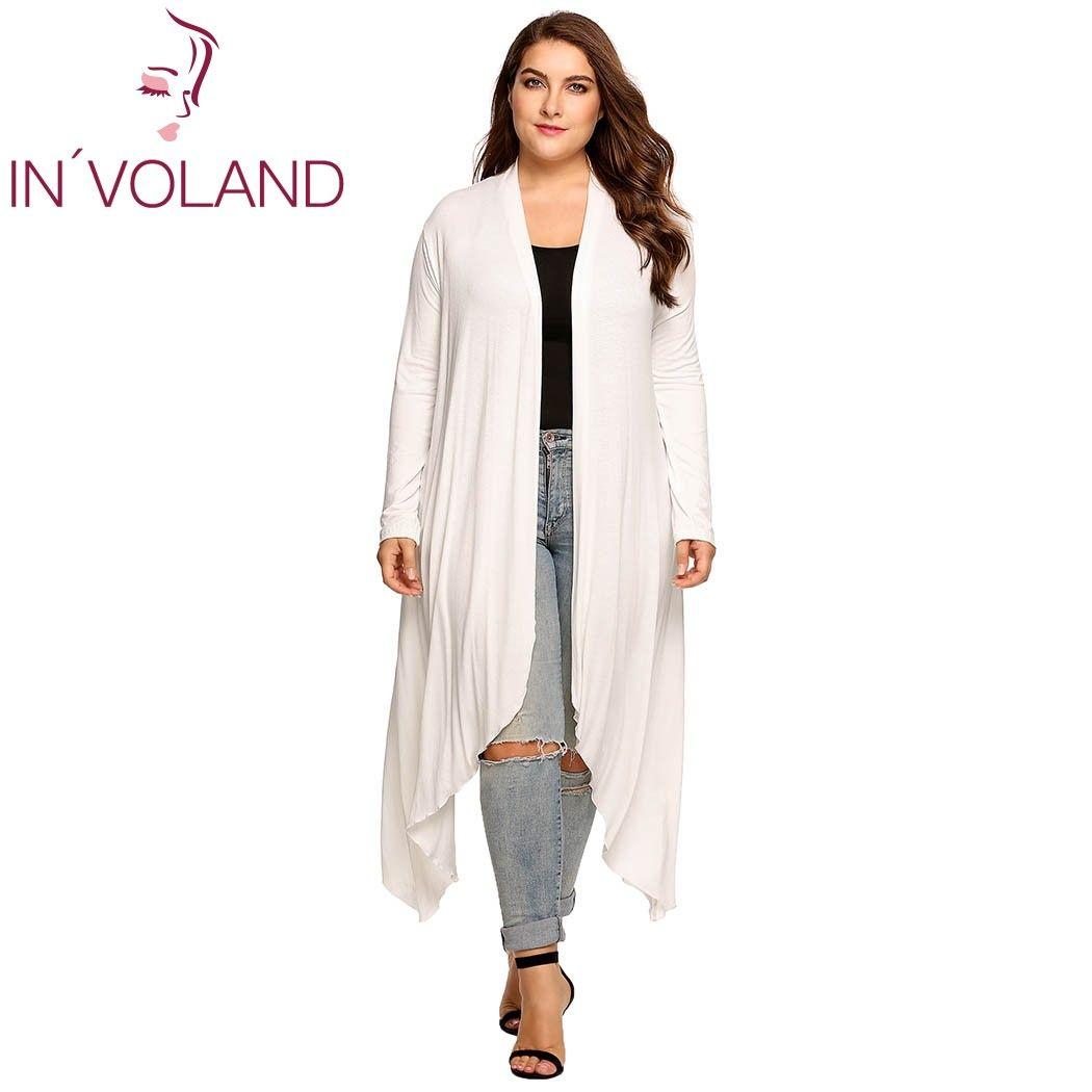 In'voland Для женщин Куртка-кардиган плюс Размеры осень открытой передней Твердые драпированные леди большой длинный большой свитер большие на...